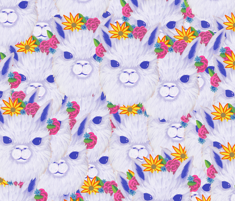 Alpaca Flower Crown Repeat fabric by tylre on Spoonflower - custom fabric