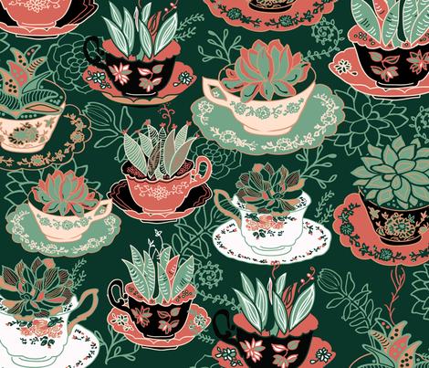 Tea Cups & Succulents fabric by honoluludesign on Spoonflower - custom fabric