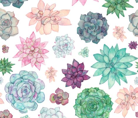 Succulent Garden fabric by elena_o'neill_illustration_ on Spoonflower - custom fabric