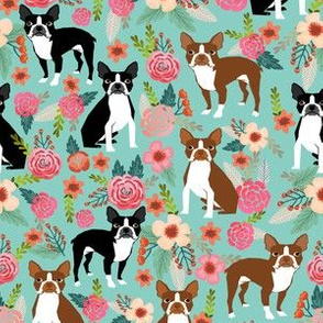 boston terrier floral fabric cute dogs design