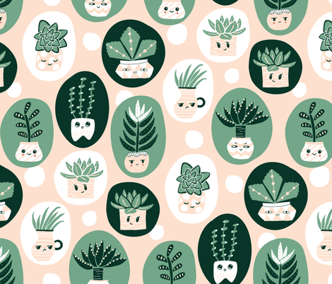 Silly Succulents  fabric by trxy on Spoonflower - custom fabric
