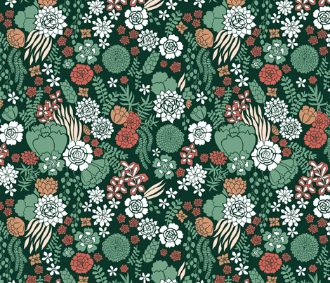 succulent garden   fabric by desi_draws on Spoonflower - custom fabric