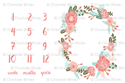 "54"" X 36""  - milestone floral wreath baby blanket photo prop cute baby gift"