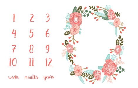 "54"" X 36""  - milestone floral wreath baby blanket photo prop cute baby gift fabric by charlottewinter on Spoonflower - custom fabric"