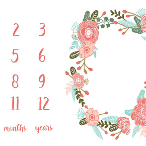 milestone floral wreath baby blanket photo prop cute baby gift