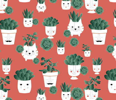 potted succulents limited color palette fabric by lenazembrowskij on Spoonflower - custom fabric