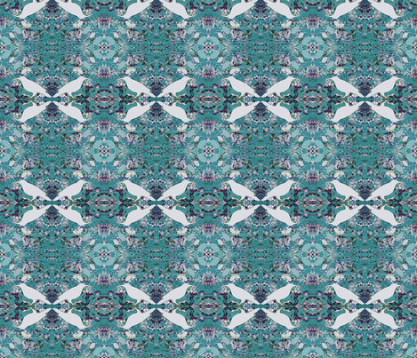 White Ravens Deep Turquoise fabric by peaceofpi on Spoonflower - custom fabric