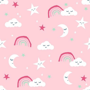 moon and stars fabric pink and rainbows - pink