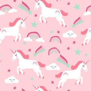 unicorn pink and mint fabric baby nursery design