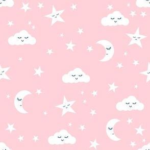 moon and stars fabric nursery baby design - pastel pink