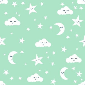 moon and stars fabric nursery baby design - mint