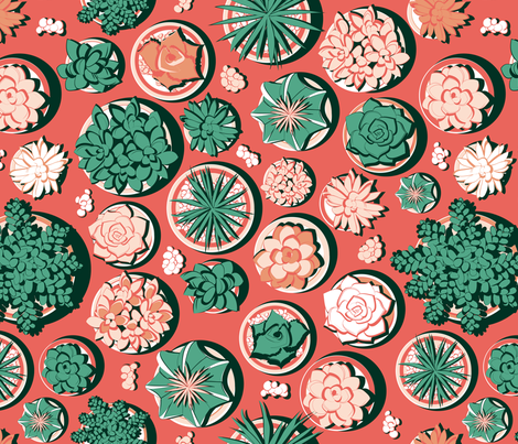 Succulent pots fabric by selmacardoso on Spoonflower - custom fabric