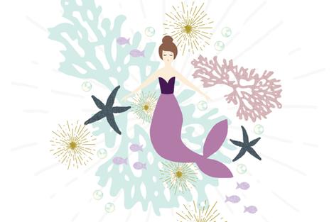 "Laguna Mermaid Single Motif Baby Blanket 54"" // Brunette fabric by ivieclothco on Spoonflower - custom fabric"