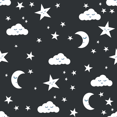 moon and stars fabric sweet baby nursery fabric - charcoal fabric by charlottewinter on Spoonflower - custom fabric