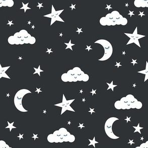 moon and stars fabric sweet baby nursery fabric - charcoal