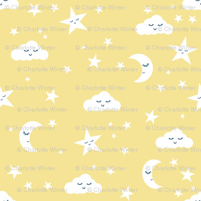 moon and stars fabric sweet baby nursery fabric - pastel yellow