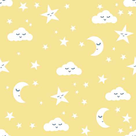 moon and stars fabric sweet baby nursery fabric - pastel yellow fabric by charlottewinter on Spoonflower - custom fabric