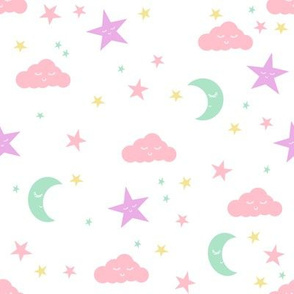 moon and stars fabric sweet baby nursery fabric - pastel