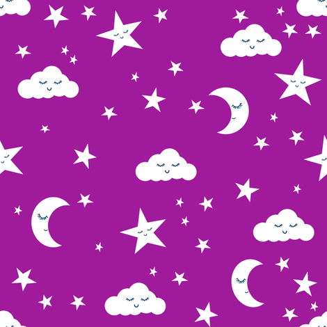 Moon and stars fabric sweet baby nursery fabric dark for Purple baby fabric