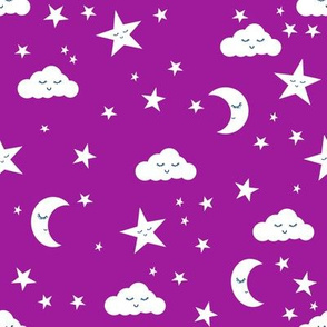 moon and stars fabric sweet baby nursery fabric - dark purple