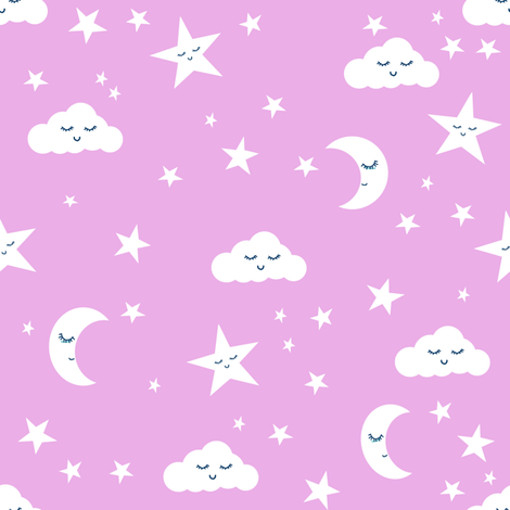 Moon and stars fabric sweet baby nursery fabric light for Purple nursery fabric