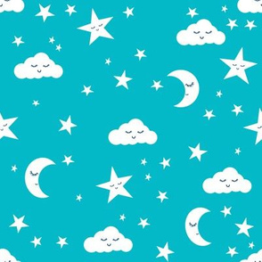 moon and stars fabric sweet baby nursery fabric - turquoise
