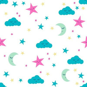 moon and stars fabric sweet baby nursery fabric -turquoise, pink and yellow