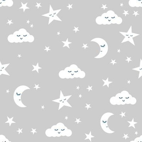 moon and stars fabric sweet baby nursery fabric - grey