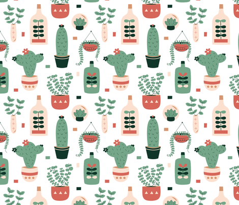succulents fabric by la_fabriken on Spoonflower - custom fabric