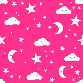 moon and stars fabric sweet baby nursery fabric - bright pink