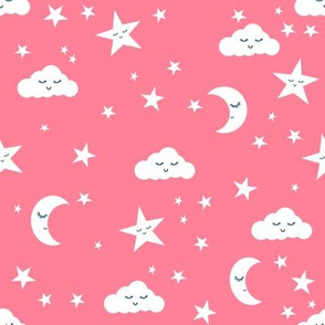 moon and stars fabric sweet baby nursery fabric - pink