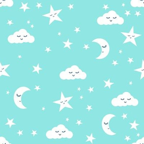 moon and stars fabric sweet baby nursery fabric - aqua