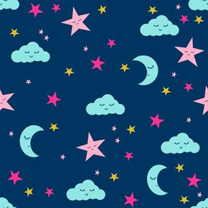 moon and stars fabric sweet baby nursery fabric - navy and brights