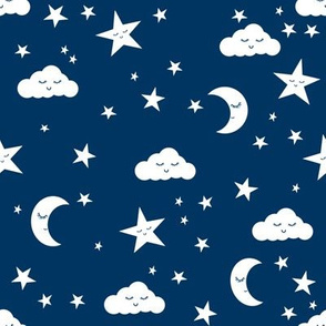 moon and stars fabric sweet baby nursery fabric - navy
