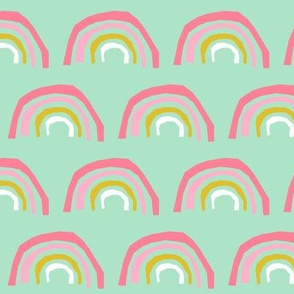 rainbow fabric magic rainbows nursery baby - mint