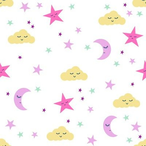 moon and stars fabric sweet baby nursery fabric - purple, pink,  yellow