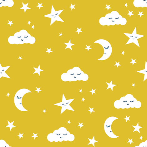 Moon and stars fabric sweet baby nursery fabric yellow for Yellow nursery fabric
