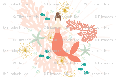 """Coral Reef Mermaid Single Motif Baby Blanket 54"""" // Brunette"""