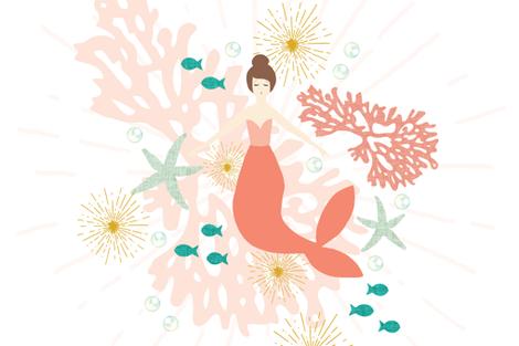 "Coral Reef Mermaid Single Motif Baby Blanket 54"" // Brunette fabric by ivieclothco on Spoonflower - custom fabric"
