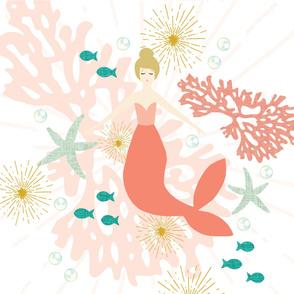 """Coral Reef Mermaid Single Motif Baby Blanket 42"""" // Blonde"""