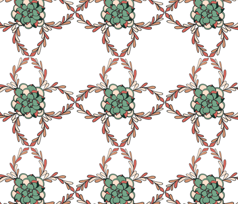 sage rosette succulent fabric by ed_designs on Spoonflower - custom fabric