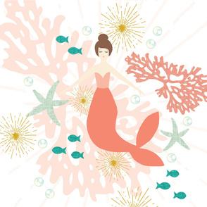 """Coral Reef Mermaid Single Motif Baby Blanket 42"""" // Brunette"""