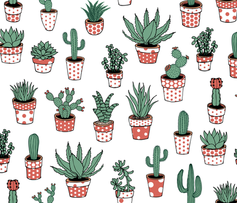 Succulents in spotty pots - terracotta fabric by cecca on Spoonflower - custom fabric