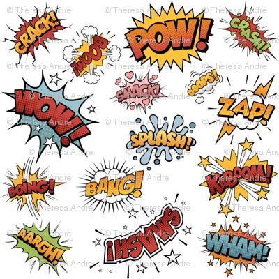 Comic Book Sound Effects wallpaper - twix - Spoonflower