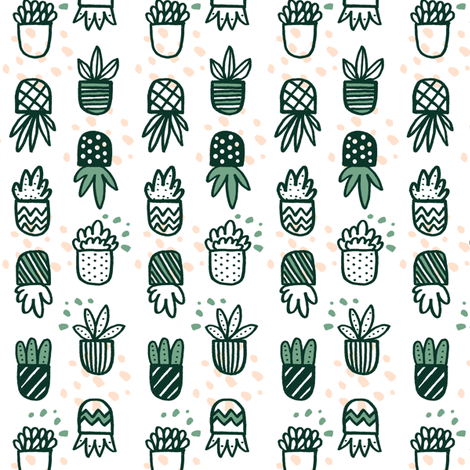 Succulent Pots and Dots with Green and Pink fabric by minikuosi on Spoonflower - custom fabric