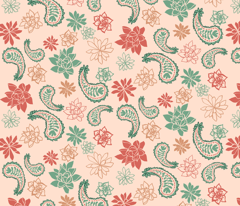 Paisley_succulents fabric by ivydoodle on Spoonflower - custom fabric