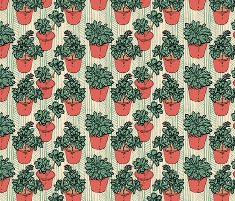 Succulent Chevron fabric by palifino on Spoonflower - custom fabric