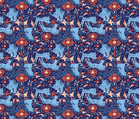Floral Tiger fabric by ay_laurita on Spoonflower - custom fabric