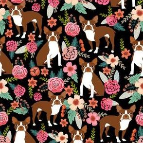 Boston Terrier spring florals red coat floral dog breed black