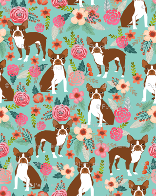 Boston Terrier spring florals red coat floral dog breed mint